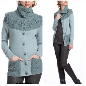 Anthropologie Sleeping On Snow Cable Pom Sweater L